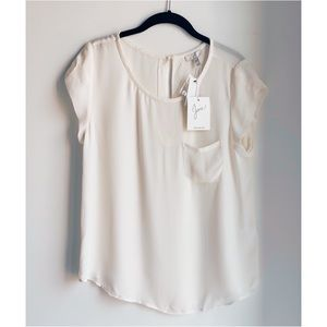 NWT Joie Porcelain Silk Rancher Short-sleeve Top